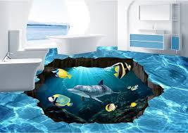 pvc vinyl flooring custom 3d wall paper blue hd dolphins 3d