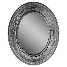 Oval Rustic Wood Villa Decorative Wall Mirror Gray