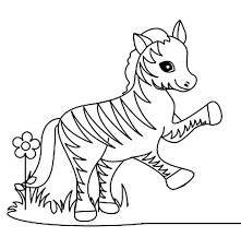 Print Funny Little Zebra Coloring Page In Full Size