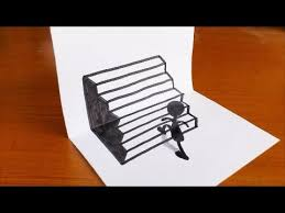Very Easy How To Drawing 3D Stairs Step By For Kids