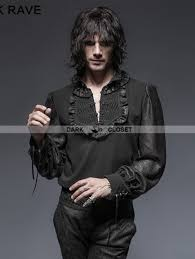 Punk Rave Vintage Chiffon Black Gothic Shirt For Men