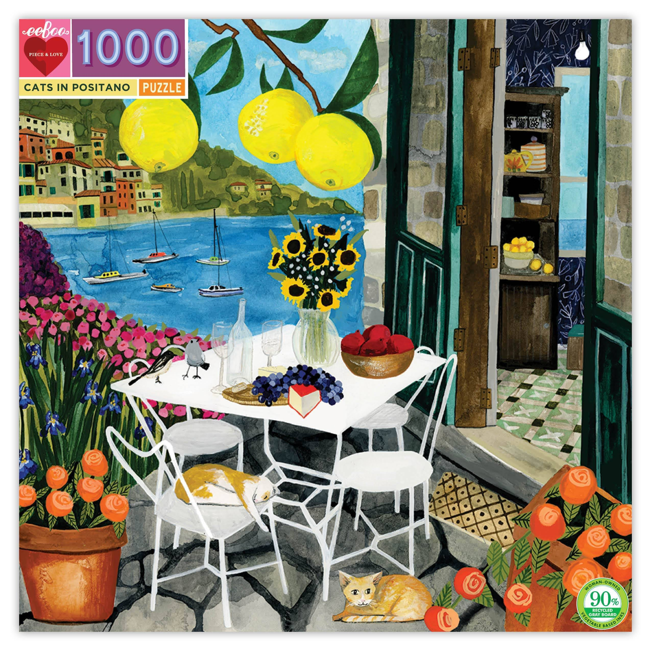 eeBoo Cats in Positano 1000 PC Puzzle