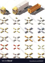 Isometric Trucks With Semi-trailers Icon Vector Image
