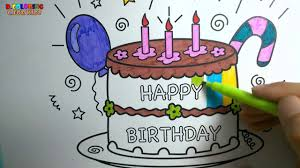 Coloring Pages Happy Birthday Cake l Drawing Pages To Color For Kids l Rainbow Colors