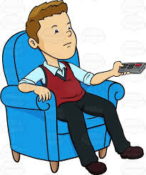 Man Sitting In A Blue Chair With Remote Control His Hands