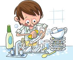 Man Washes Dishes Vector Art Illustration