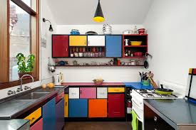 View In Gallery Multi Colored Shelves Create A Fun And Dynamic Kitchen Design Ande Bunbury Architects