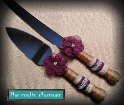 Wedding Cake Knife Set Rustic Burlap Server SetPlum Purple SetWedding AccessoryYOUR CHOICE COLOR
