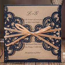 Wishmade Navy Blue Rustic Square Laser Cut Wedding Invitations Cards With Bow Lace Sleeve For