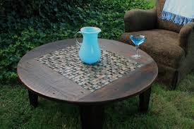 coffee table brown circular coffee table tile