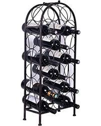 Get the Deal 20 Bottles Holder Black Arched Free Standing Metal