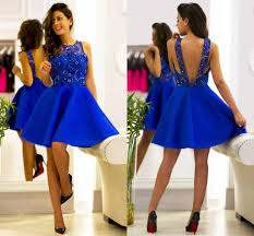 2016 new royal blue homecoming dresses jewel crystal night club