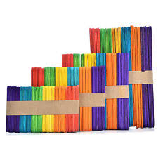 50pcs Colorful Ice Cream HandiCraft Wooden Popsicle Stick Original Timber Sticks