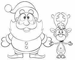 Reindeer Coloring Pages And Santa Christmas