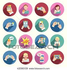 Clip Art Selfie Icons Flat Fotosearch Search Clipart Illustration Posters Drawings