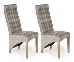 Serene Furnishings Hammersmith Stone Tartan Fabric Dining Chair In Pair