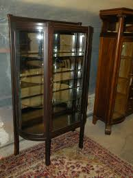 antique mission oak curved glass front curio display cabinet
