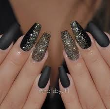 New Nail Design Ideas Black Glittery Coffin Nails Design Dope