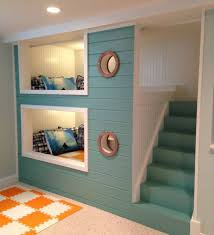 Space Saving Bunk Beds For Small Kids Room Adorable BuiltIn SpaceSaving Bed Design Inspiration With Aqua Painted Staircase And Two Sm