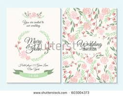 Pink And Green Wedding Invitation Thank You Card Save The Date With Flowers