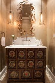 Transitional Powder Room Decorating Ideas With Tan Wallpaper White Bathroom Vanities Tops5