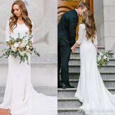 2017 Cheap Country Style Vintage Modest Wedding Dress Lace Long