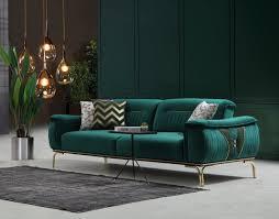 casa padrino luxus wohnzimmer sofa mit verstellbarer rückenlehne grün gold 223 x 93 x h 78 cm luxus wohnzimmer möbel