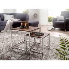 2er set satztisch massiv holz sheesham wohnzimmer tisch metallgestell landhausstil beistelltisch braun natur b h t ca 45 45 45cm