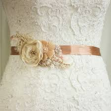 Wedding Dress Belt Bridal Sash Wedding Belt Rustic Gold Pecan