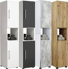 vcm hochschrank badschrank standschrank badregal badmöbel schrank flandu 160 x 31 x 30 cm badezimmer regal weiß schwarz