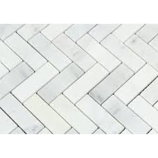 1 x 3 honed white marble herringbone mosaic tile tilephile