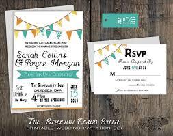Printable Rustic Wedding Invitation Set Country Backyard Bunting Flags Teal Orange Yellow DIY Barn