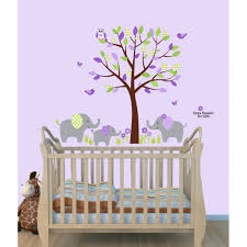 Wall Mural Decals Nursery by Purple And Green Jungle Tree Safari Stickers With Elephant Wall