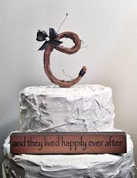 Letter C Rustic Twig Monogram Wedding Cake Topper
