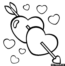 Arrow Hearts Valentines Day Online Coloring Page