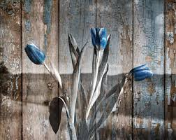 Rustic Brown Blue Home Decor Tulip Flowers Modern Wall Art Matted Picture