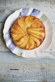 Upside Down Caramelized Pear and Almond Cake Gluten Free}