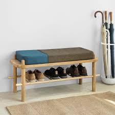 sobuy fsr73 n design sitzbank mit stauraum schuhregal mit gepolsterter sitzfläche und rückenkissen