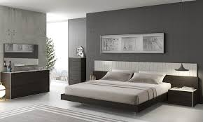 Bedroom Gray Bedroom With Low Bedding Also Glossy Black
