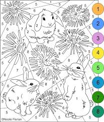 Nicoles Free Coloring Pages COLOR BY NUMBER Bunnies Pagec