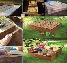 Pallet Furniture For Kids DIY Sandbox With Cover