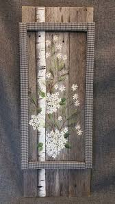 Pallet Wall Art SALE White Birch Tree Black And Plaid Farmhouse Decor Daisies Evergreens Hand Painted Flannel Reclaimed Wood