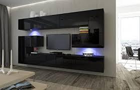 home direct albania n3 modernes wohnzimmer wohnwände wohnschränke schrankwand schwarz mat base schwarz hg front led rgb 16 farben