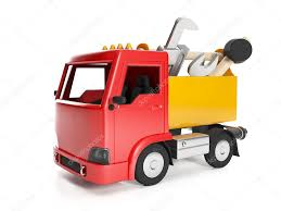 3d Illustration: Transport Technology. Truck And A Box Of Tools ...