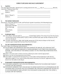 Horse Sale Agreement Template Sample Sales Contract 5 Pre Monster Affiliate Templa