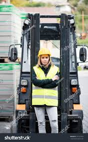 100 Female Truck Driver Forklift Outside Warehouse Stock Photo