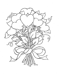 Rose Coloring Pages Hearts And Flowers For Kids