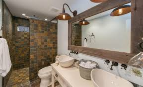 country master bathroom with tile vessel sink in