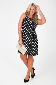 black and white polka dot sleeveless crepe skater dress plus size