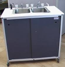 dbsc double basin portable self contained stainless steel sink